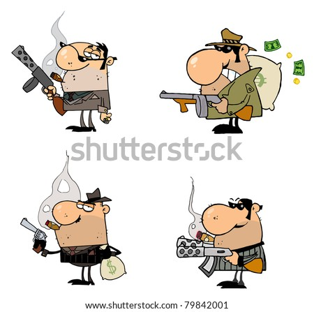 Gangsters Cartoon Characters-Raster Collection