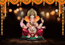 Ganpati, Lord Ganesh with Festival background