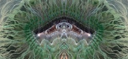 gap in the jungle,Tribute to Dalí, abstract symmetrical photograph of the deserts of Africa from the air, aerial view, abstract expressionism, mirror effect, symmetry,kaleidoscopic photo,