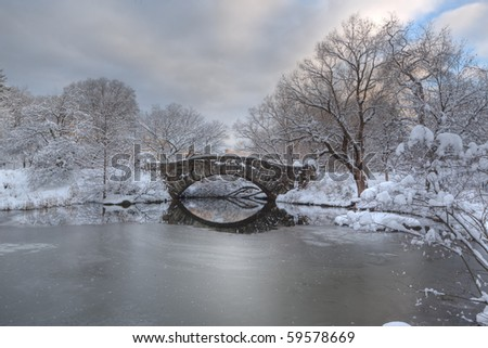 Gapstow bridge after snow storm in Central Park, New York City