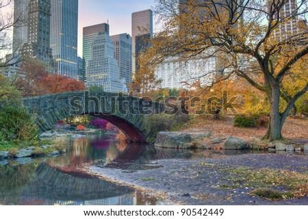 Gapstow bridge in autumn, New York City Central Park