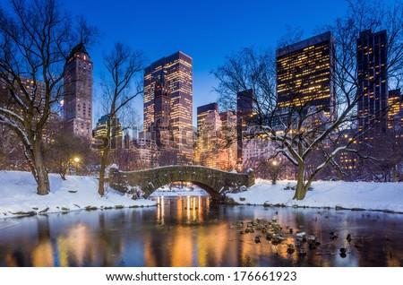 Gapstow bridge in winter, Central Park New York City