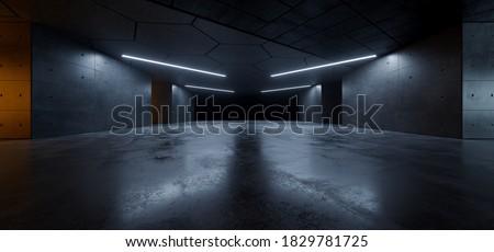 Garage Cement  Sci Fi Concrete Grunge Dark Underground Studio hangar Parking Car Showroom Orange Blue Lights Modern Background Futuristic 3D Rendering illustration