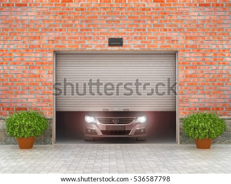 Garage concept. Garage doors are opened, and behind them is a car. 3d illustration