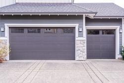 Garage door in luxury house in Vancouver, Canada.