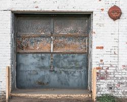 Garage door on an old abandoned industrial building