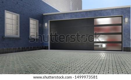 Garage entrance with sectional doors. 3d illustration