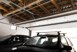 Garage entrance with sectional doors. view of the automatic garage door from the inside