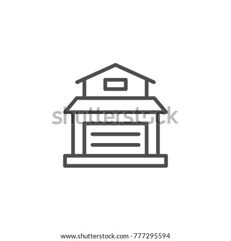 Garage line icon isolated on white