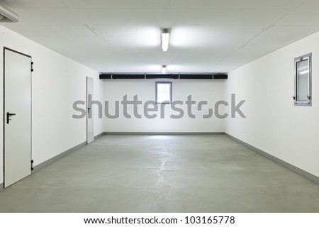 garage of a house without car
