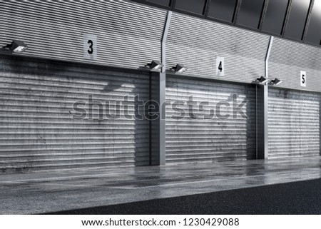 Garage pit lane car background racing track 3D illustration