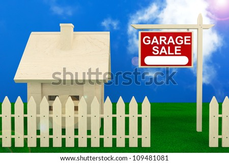 Garage Sale Banner Sign with Beautiful Wooden House