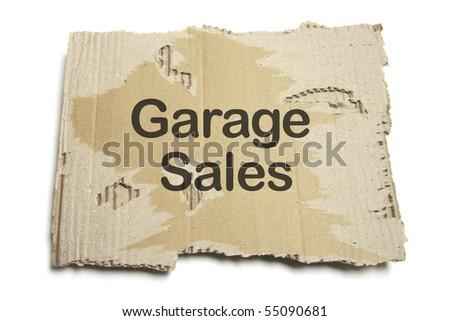 Garage Sales Sign on White Background