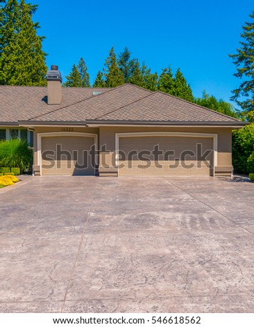 Garage with long driveway. North America. #546618562