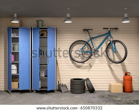 garage with many things and bicycle, 3d illustration