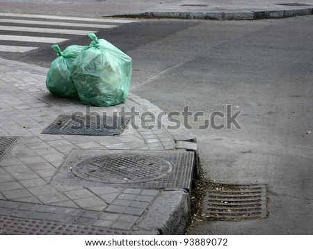 garbage bag on street