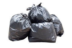Garbage bags isolated on white background. Garbage bags isolated with clipping path.