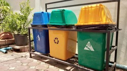 Garbage bin in the village is prepared by people in the community to keep clean. Blue bin, general garbage disposal Yellow tank, recyclable garbage and green tank, leaving wet garbage,trashcan
