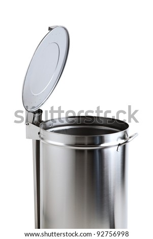 garbage bin of steel stainless with opening pedal of white background