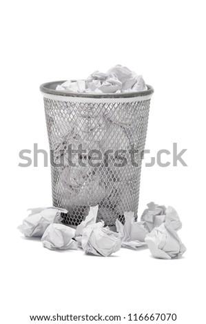 Garbage bin on white background