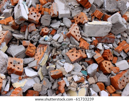 Garbage bricks heap
