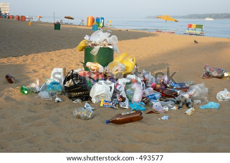 garbage can on the beach