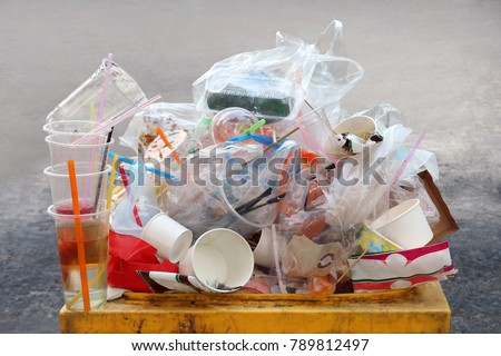 Garbage, Dump, Plastic waste, Pile of Garbage Plastic Waste Bottle and Bag Foam tray many on bin yellow, Plastic Waste Pollution