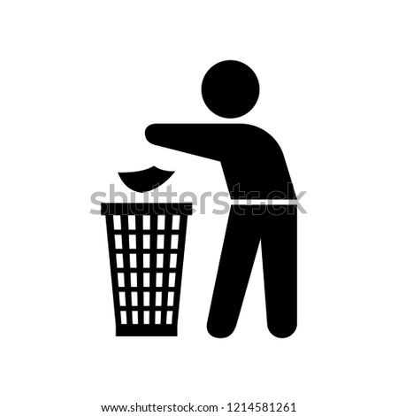 Garbage element silhouette of a man throwing trash into a basket on the white background, illustration