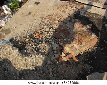 Garbage, garbage, mud, texture of the swamp #686059666