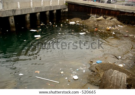 Garbage in water in a populated area.
