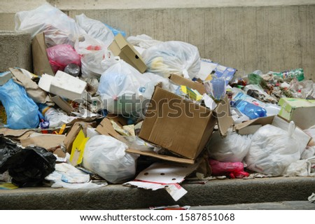 Garbage piled on the street