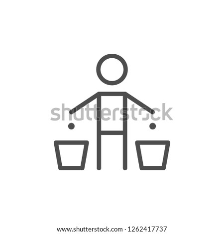 Garbage separation line icon isolated on white