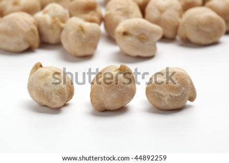 Garbanzo beans, chickpeas  on white background