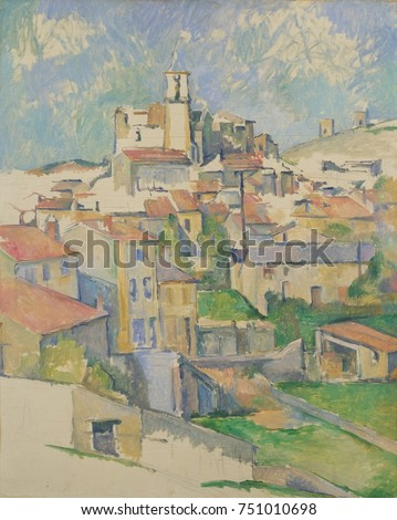 Gardanne, by Paul Cezanne, 1885-86, French Post-Impressionist painting, oil on canvas. Gardanne is a hill town near Aix-en-Provence, with red-roofed buildings render with Cezannes geometric planes of