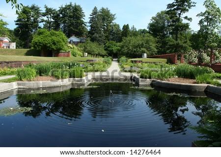 Garden and Pond at Vanderbilt Mansion in Hyde Park, NY.