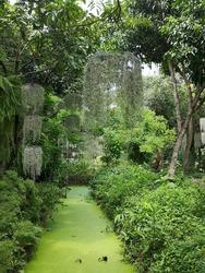 Garden and stream in restaurant