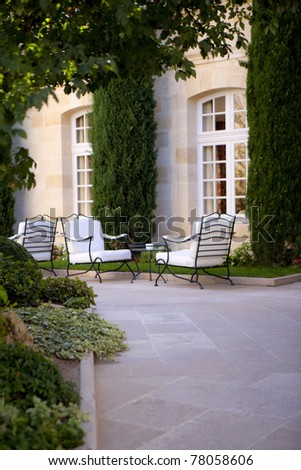 Garden and terrace inside a mansion in France
