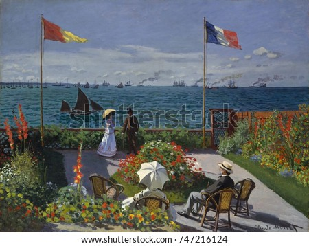 Garden at Sainte-Adresse, by Claude Monet, 1867, French impressionist painting, oil on canvas. This was painted as Monet was breaking away from the influence of Manet and developing his dappled paint