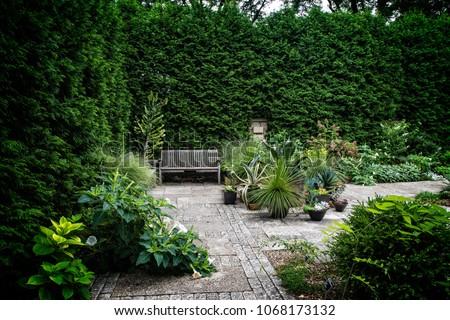 Garden bench in courtyard