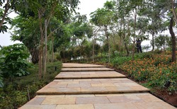 Garden broad footpath stairs steps jogging trail nature outdoor landscape background