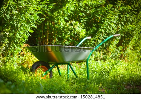Garden cart in the garden. Garden tools.