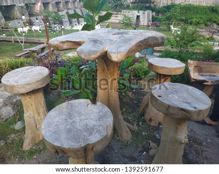 garden chair table with wood material,Picnic area in a park.
