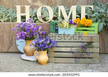 Garden decoration with wildflowers and decorative letters, outdoors #203432995