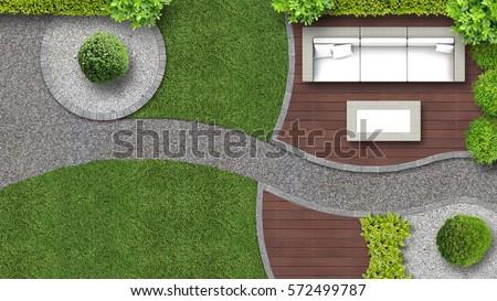 garden design in top view including garden furniture