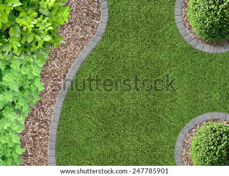 Garden Detail In Aerial View With Bark Compost 247785901