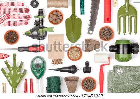 Garden Equipment And Other Essentials On White Background