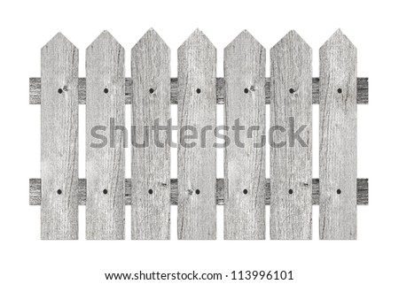 garden fence with planks isolated on white background