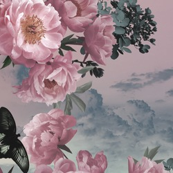 Garden flowers pink peonies and black butterfly. Watercolor background cloudy sky. Floral card. Vintage.