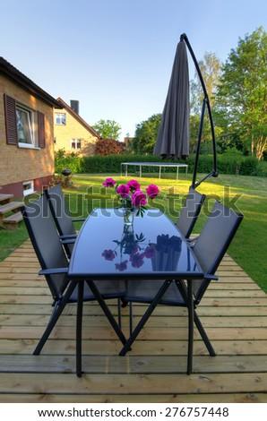 Garden furniture in summer season