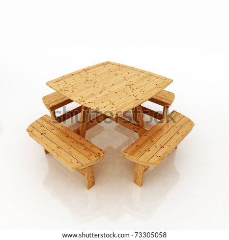 garden furniture - wooden table and benches